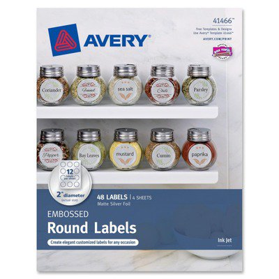 Avery embossed round labels 41466 matte silver foil 2 for Avery 2 round label template