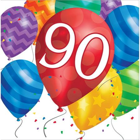 Balloon Blast 90th Birthday Lunch Napkins, Case of 192