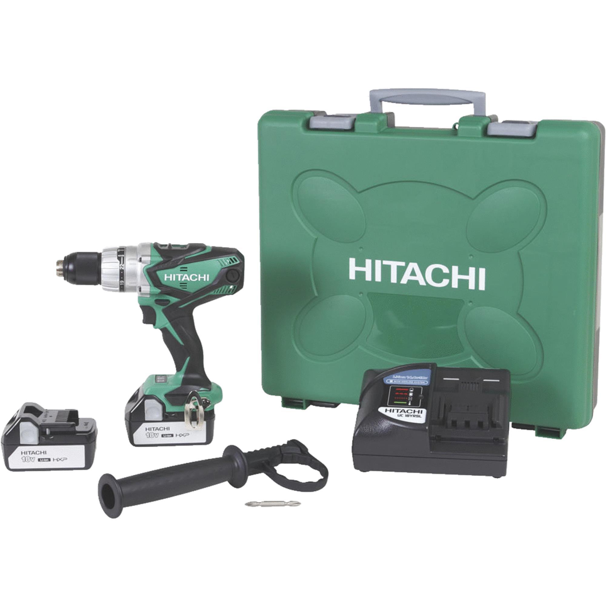 Hitachi 18v Lithium Ion Cordless Hammer Drill Kit Walmart Com