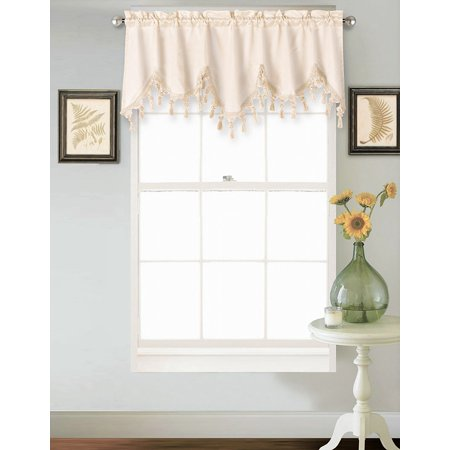 """(WAVE) IVORY BEIGE 1PC Elegant Faux Silk Rod Pocket Swag Waterfall Ascot Dressing Valance with Tassels, 55"""" X 18"""" Inch"""