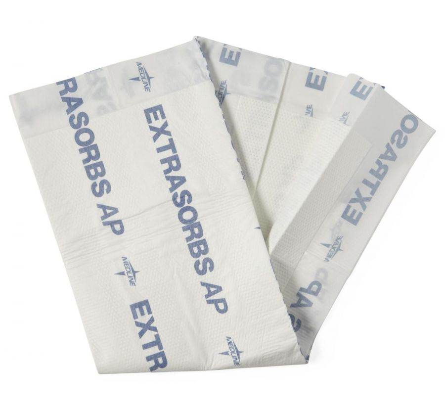 Extrasorbs Air-Permeable Disposable Drypads White, 36'' X 23'', 10 Count