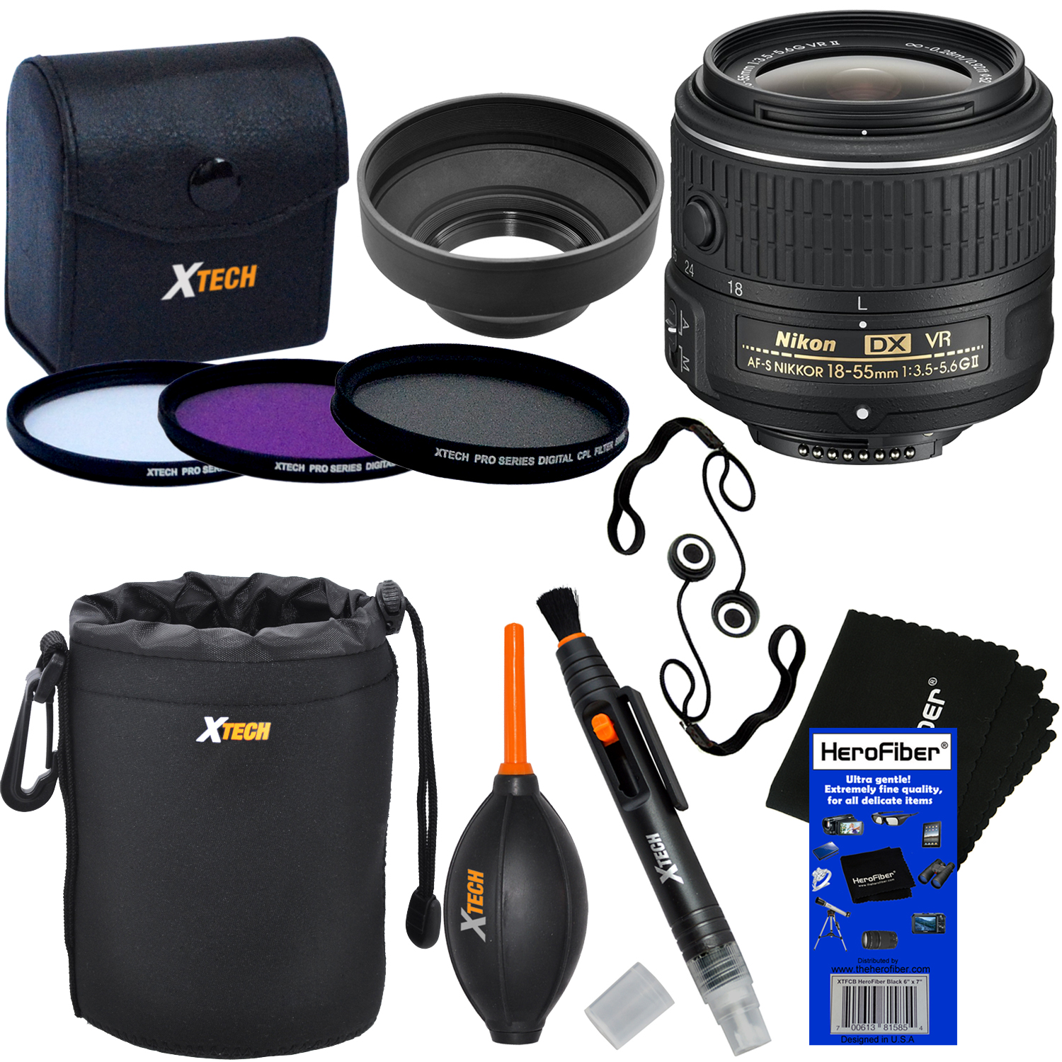 Nikon AF-S DX NIKKOR 18-55mm f/3.5-5.6G VR II Zoom Lens for Nikon DSLR Cameras + 3pc Filter Kit (UV,FL-D,CPL) + 8pc Accessory Kit w/ HeroFiber Cleaning Cloth