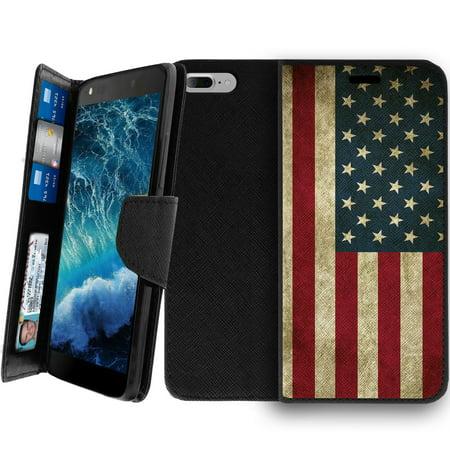 the latest 06152 854ea Apple iPhone 7 Plus, iPhone 7 Plus Kickstand Wallet Case [CLIP FOLIO] Black  Leather iPhone 7 Plus Case with Card Slots, Folding Kickstand & Magnetic ...