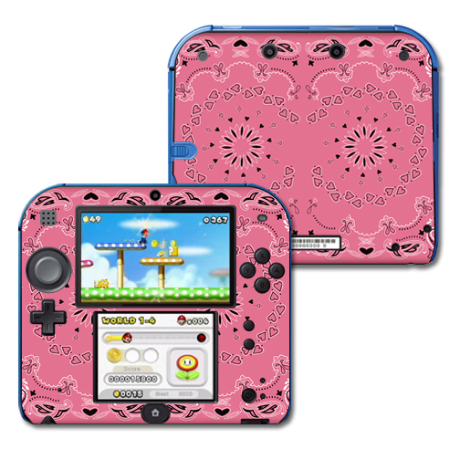Mightyskins Protective Vinyl Skin Decal Cover for Nintendo 2DS wrap sticker skins Pink Bandana