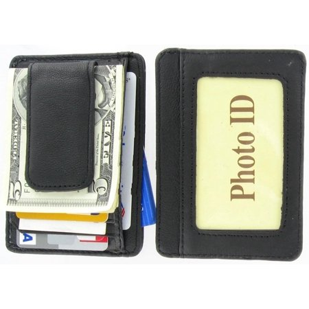 Mens Leather Wallet Money Clip Credit Card ID Holder Front Pocket Thin Slim (Mont Blanc Money Clip Wallet)