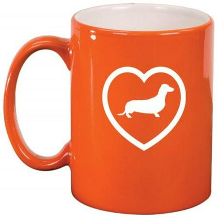 Dachshund Heart Ceramic Coffee Tea Mug Cup Orange