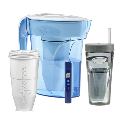 Zero Water 6-Cup Ion Exchange Water Dispenser Pitcher w/ 1 Replacement Filter & Portable Tumbler Combo