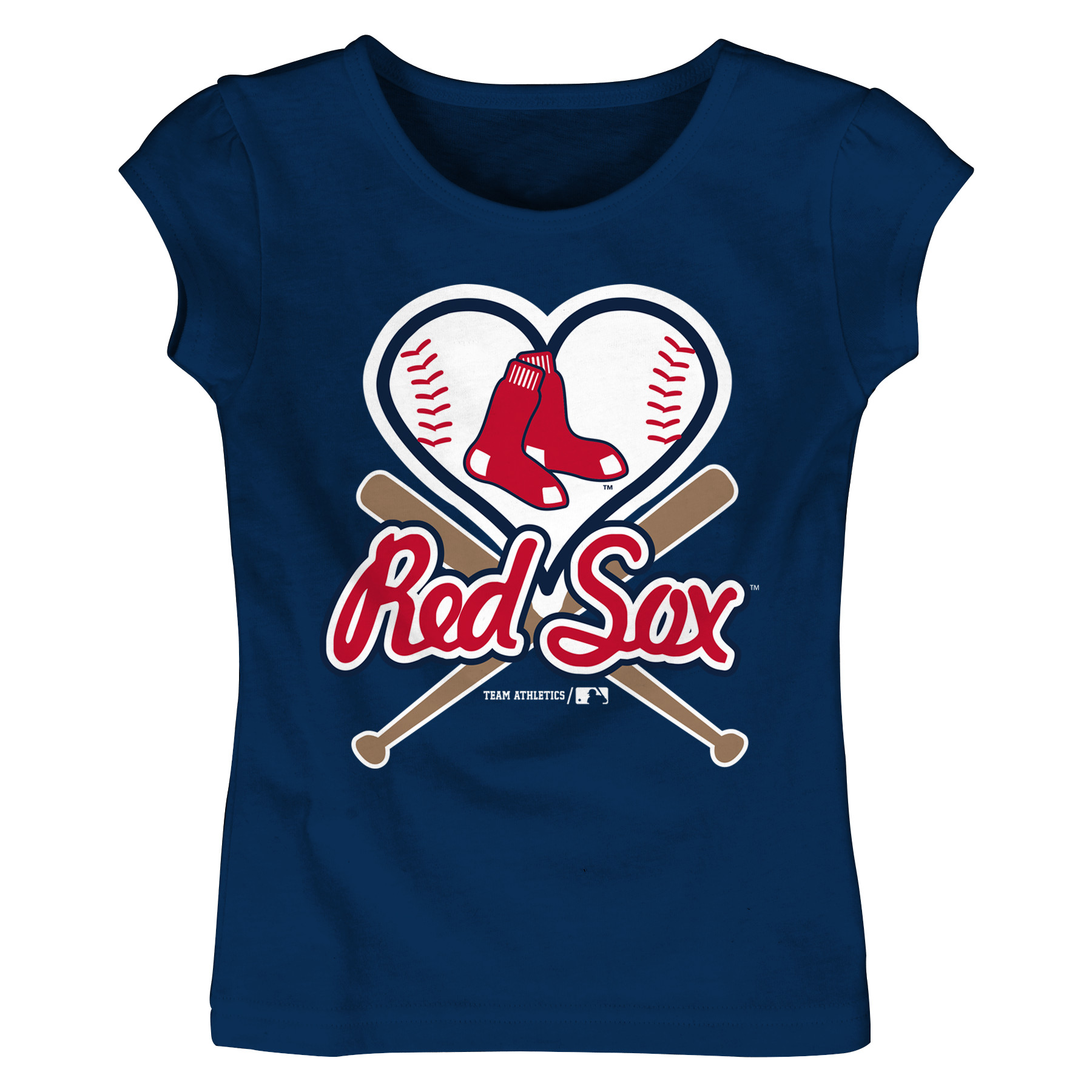 MLB Boston RED SOX TEE Short Sleeve Girls Cotton Jersey Team Color 12M-4T