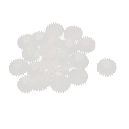 20PCS Double Deck 24102B Model White Plastic Gear for RC Toys
