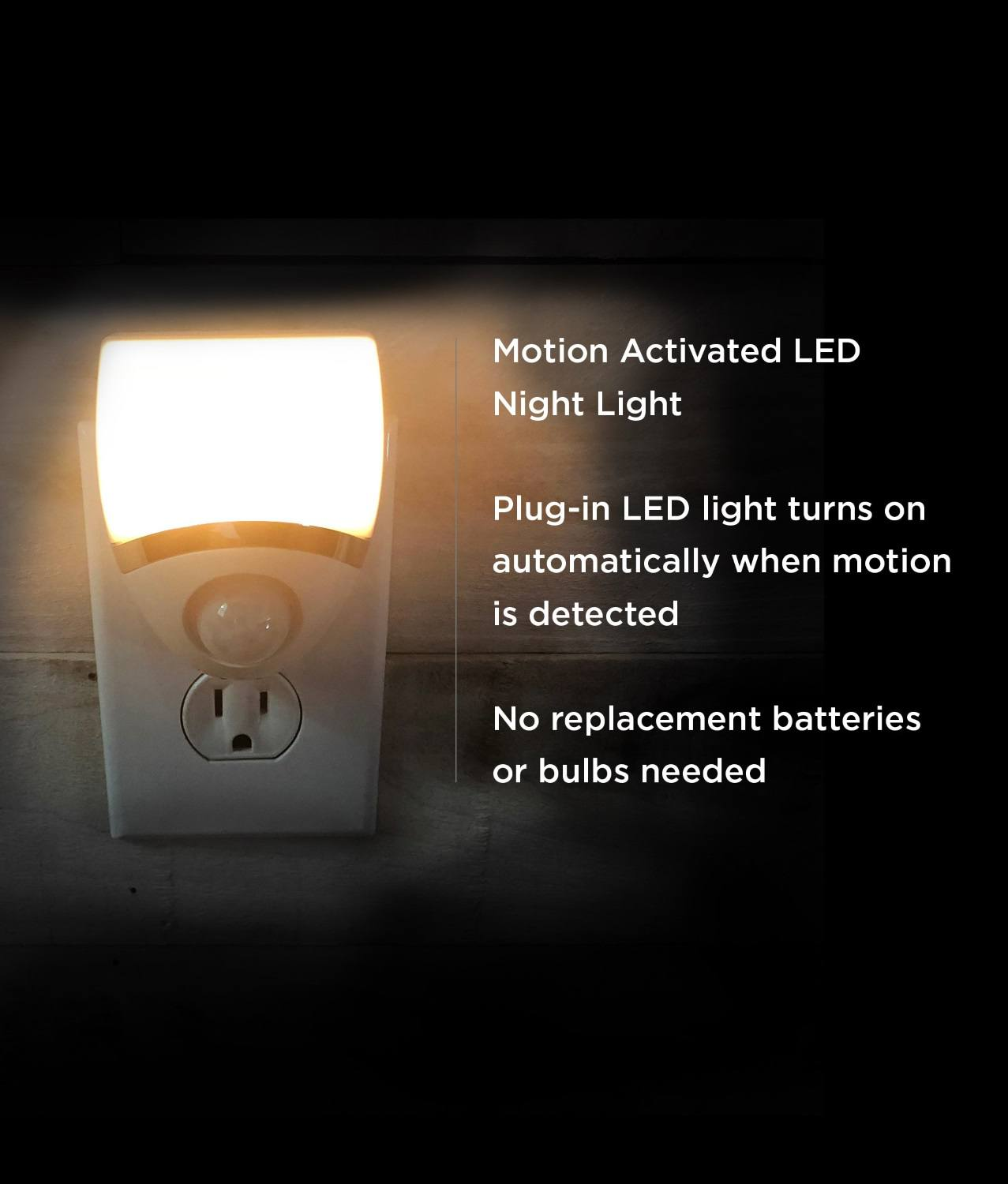 Amerelle Motion-Sensor LED Night Light – Plug-In LED Lights Turn on When  Sensor Detects Motion – Ideal for Bedroom, Bathroom, Hallway, Nursery,
