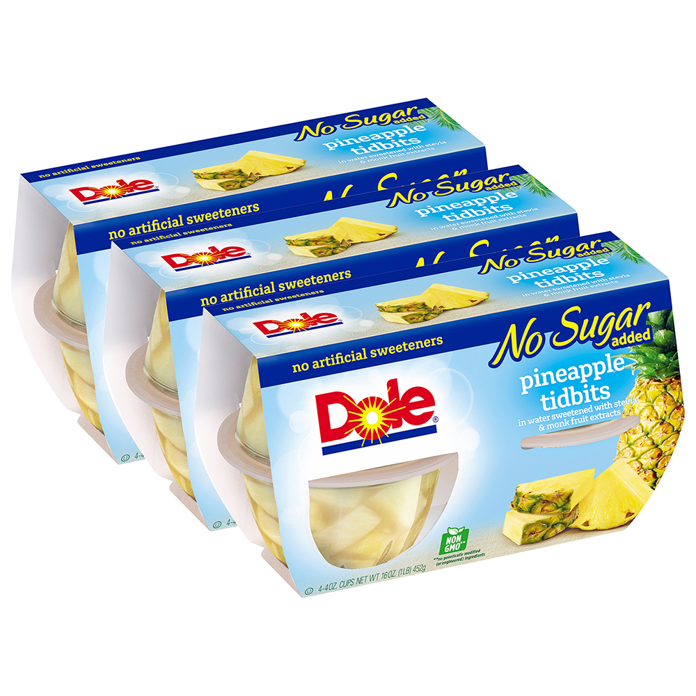 (3 Pack) Dole Fruit Bowls, No Sugar Added Pineapple Tidbits, 4 Ounce (4 Cups)