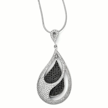925 Sterling Silver Cubic Zirconia Cz Teardrop Chain Necklace Pendant Charm Gifts For Women For Her mothers day gifts mom wife (Kd 9 Fire And Ice For Sale)