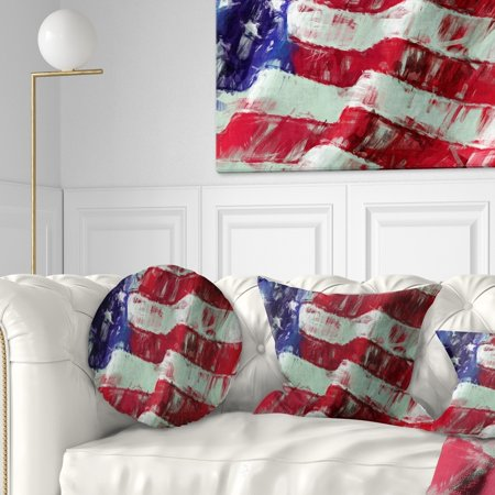 Brilliant Design Art Designart Usa Flag Abstract Art Map Flag Throw Pillow 20 Inches Round Large Onthecornerstone Fun Painted Chair Ideas Images Onthecornerstoneorg
