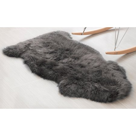 Super Area Rugs, Genuine Australian Sheepskin Dover Gray Fur Rug, Single Pelt, 2ft. X 3ft.