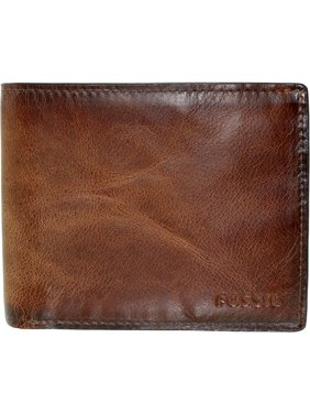 Men's Derrick Rfid Blocking Flip Id Bifold Leather Wallet - Brown