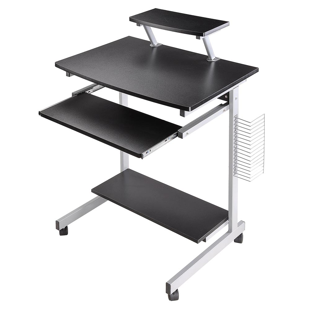 Yescom Mobile Computer Desk Compact Student Laptop Cart Rolling Table Home Office