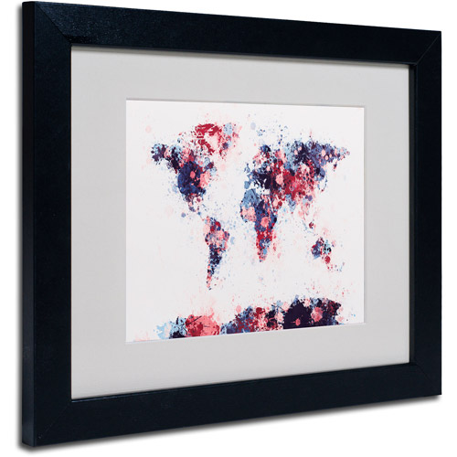"Trademark Fine Art ""Paint Splashes World Map 3"" Matted Framed by Michael Tompsett"