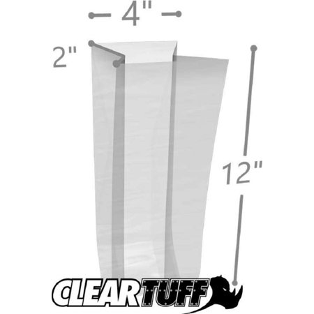 APQ Pack of 1000 Gusseted Poly Bags 4 x 2 x 12. Clear Polyethylene Bags 4x2x12. FDA, USDA Approved 2 Mil. Expandable Side Gusset Bags. Open Ended Bags for Industrial, Food Service, Healthcare (2 Mil Clear Gusseted)