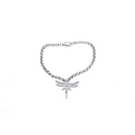 Clear Cubic Zirconia Dragonfly Bracelet Rhodium Plated Sterling Silver