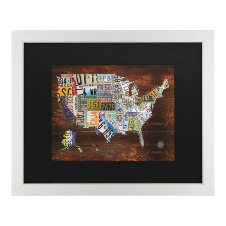 Trademark Fine Art \'USA License Plate Map on Wood\' Canvas Art by ...