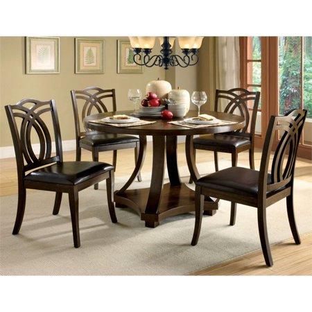 Admirable Furniture Of America Lafayette 5 Piece Round Dining Set In Dark Walnut Unemploymentrelief Wooden Chair Designs For Living Room Unemploymentrelieforg
