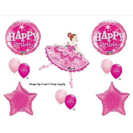 Pink Ballerina Happy Birthday Party Balloons Decorations Supplies, Ballerina Ballet Happy Birthday Party Balloons By Anagram - Ballerina Party Supplies