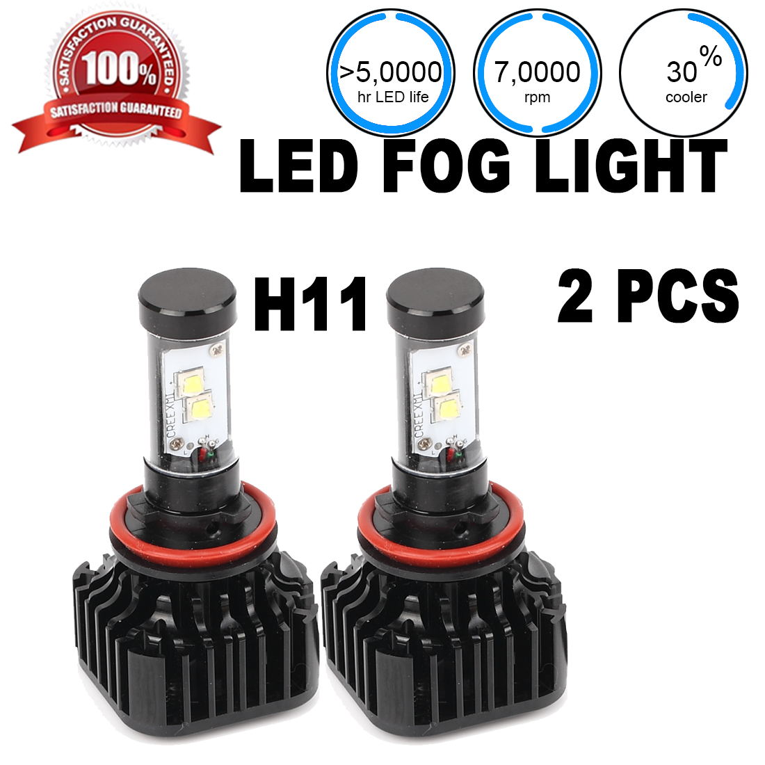 AUTO 1pair LED Headlight Bulb 6000K Super White J H11 H8 ...