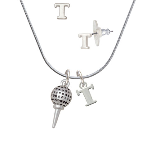 Golf Ball on Tee T Initial Charm Necklace and Stud Earrings Jewelry Set by Delight and Co.