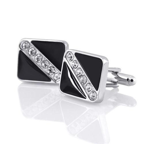 Zodaca Black and Silver Cufflinks with 6 Rhinestones