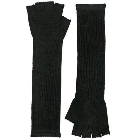 Black Knit Fingerless Long Gloves Arm Warmers - Black Arm Warmers