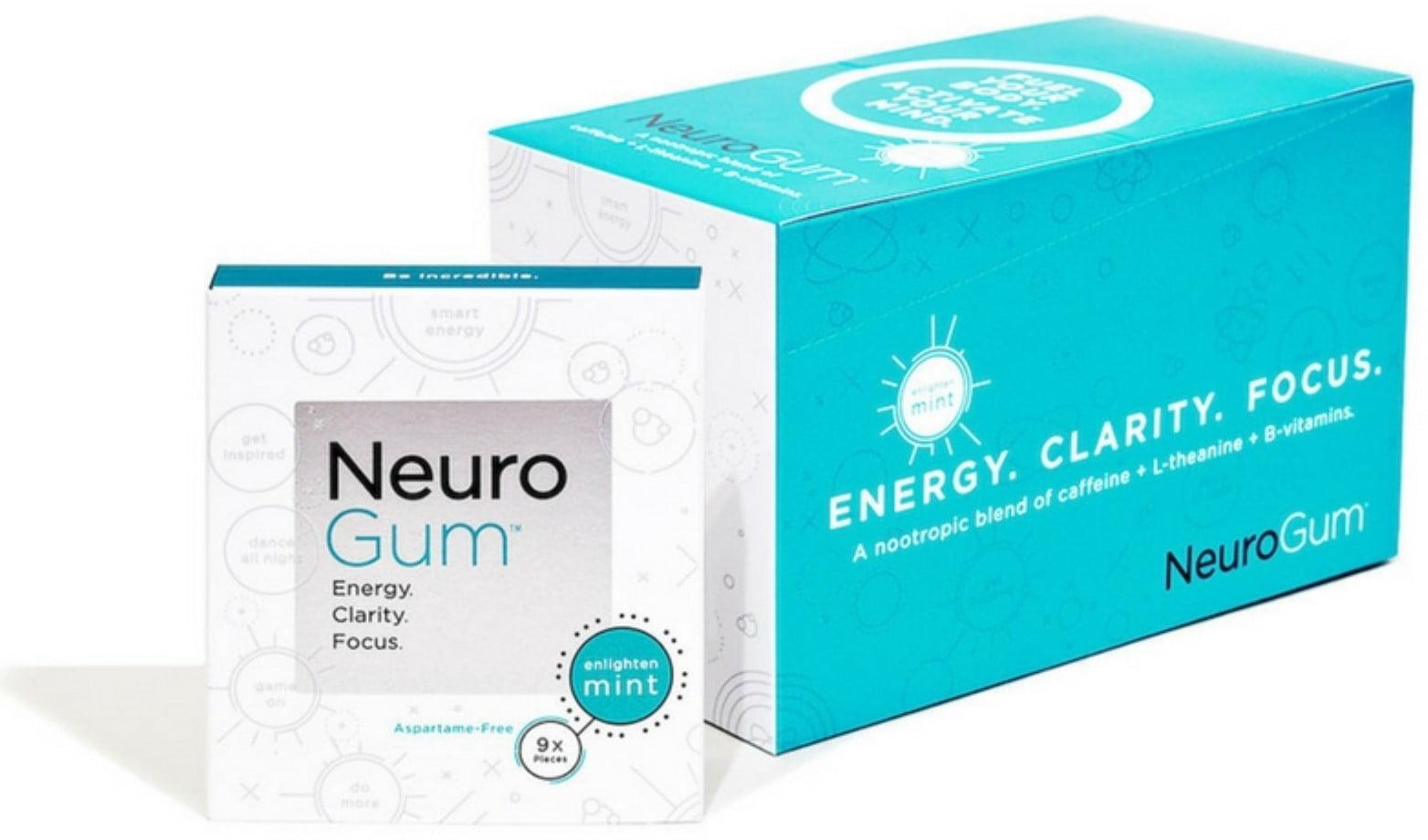 2 Pack - NeuroGum Nootropic Energy Gum, Enlighten Mint Flavor, 9 Pieces Per  Pack (12 Pack)