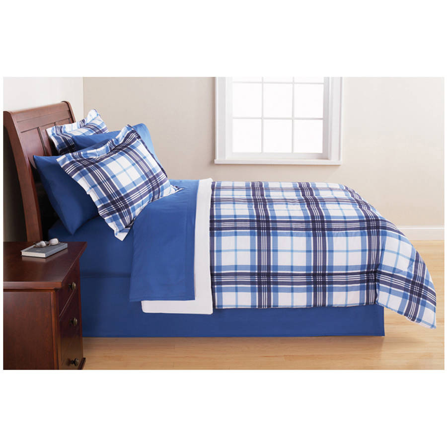 Bed sheet patterns men - Mainstays Blue Plaid Bed In A Bag Complete Bedding Set