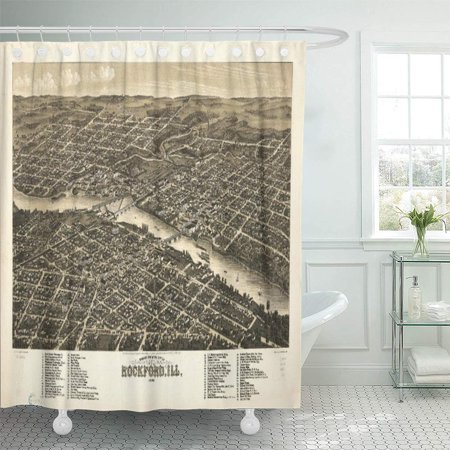 SUTTOM Maps Bird Eye Rockford Illinois Old Vintage History Shower Curtain 60x72 inch - image 1 de 1