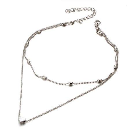 Beaded Heart Double Layer Choker Necklace Plastic Bead Choker