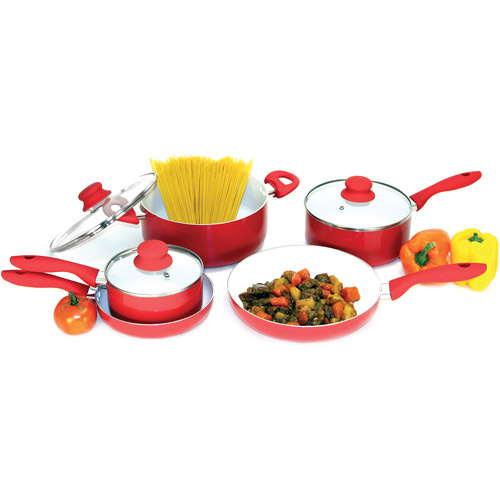 Heuck 8-Piece NANO Non-Stick Ceramic Cookware Set, Red