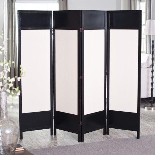 Griffin Canvas 4 Panel Room Divider - Black
