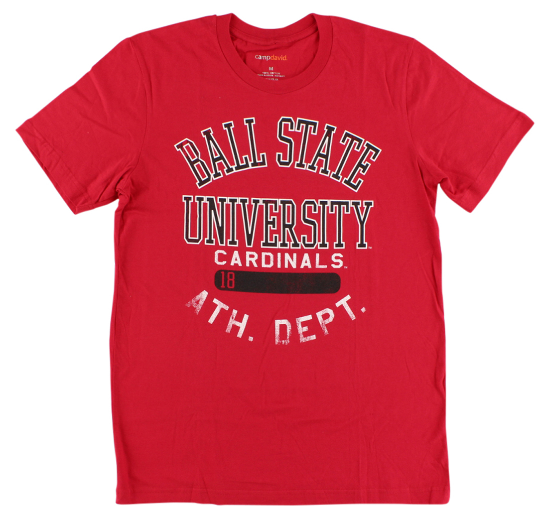 Camp David Mens Ball State Cardinals College Thomas T Shirt Red