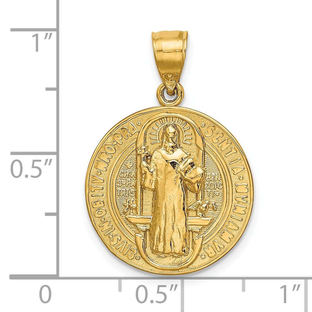 American Set Co 14k Rose Gold Religious St Benito CZ Medal