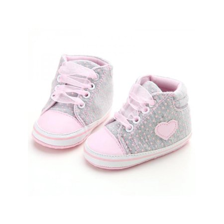 Newborn Baby Girls Laces High-Top Ankle Sneakers Soft Sole Crib - Lace Crib Shoe