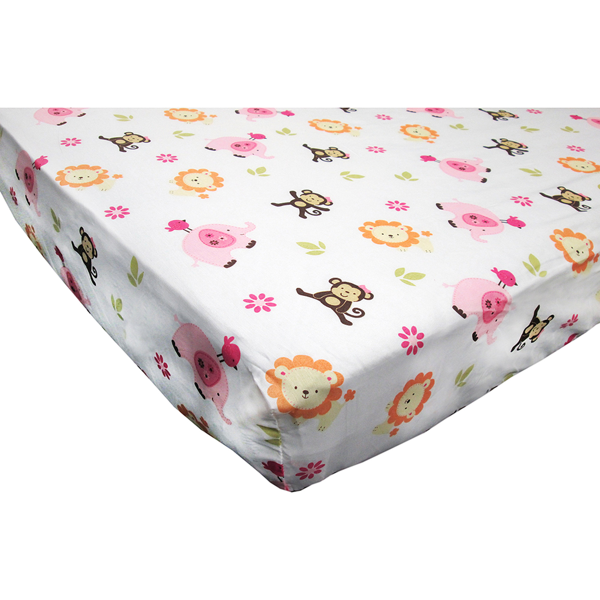 Little Bedding by NoJo Raspberry Jungle Crib Sheet