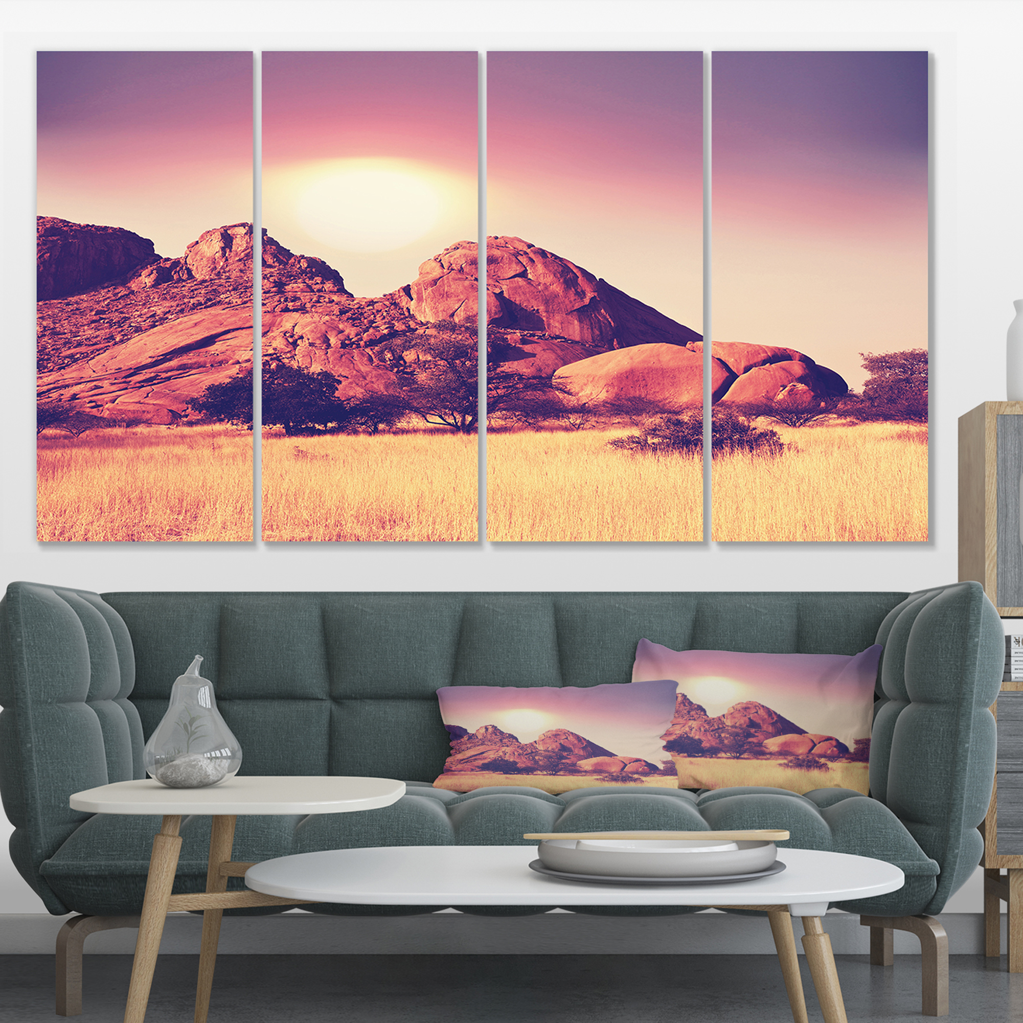 Rocky Hills and Grassland in Africa - Oversized Landscape Canvas Art - image 3 of 3