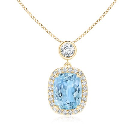 March birthstone pendant necklaces dangling cushion aquamarine and march birthstone pendant necklaces dangling cushion aquamarine and diamond halo pendant in 14k yellow gold mozeypictures Choice Image