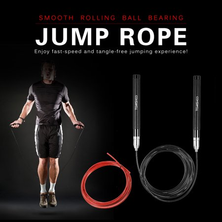 TOMSHOO 10 Feet Adjustable Speed Jump Rope Lightweight Skipping Jumping Rope Cable Wire Home Gym Fitness Boxing Training Workout
