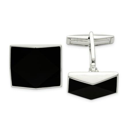 925 Sterling Silver Black Onyx Cuff Links Mens Cufflinks Link Dad Mens Gift Set