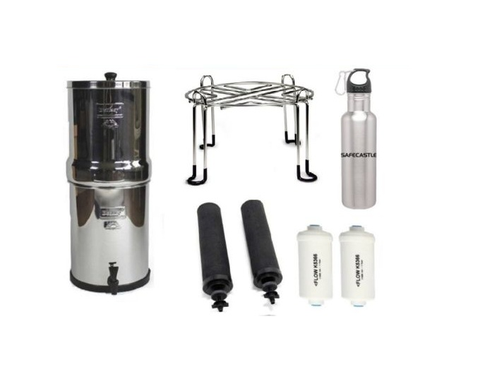 Big Berkey Water Purifier with 2 Black ,2PF2, Wirestand & Safecastle Bottle by Berkey
