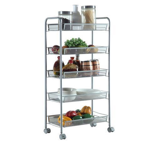501cd7a7cf5c UBesGoo 5-Tier Wire Mental Mesh Shelves, Cozzine Utility Rolling Cart  Trolley with Lockable Wheels, Storage Organizer Easy Moving Cart Shelving  Units ...