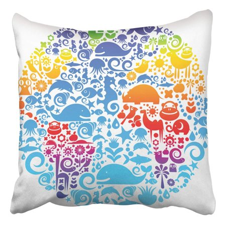 BSDHOME Collection Environmental Signs Symbols On A Colorful Earth Pillowcase Cover Cushion 16x16 inch - image 1 of 1