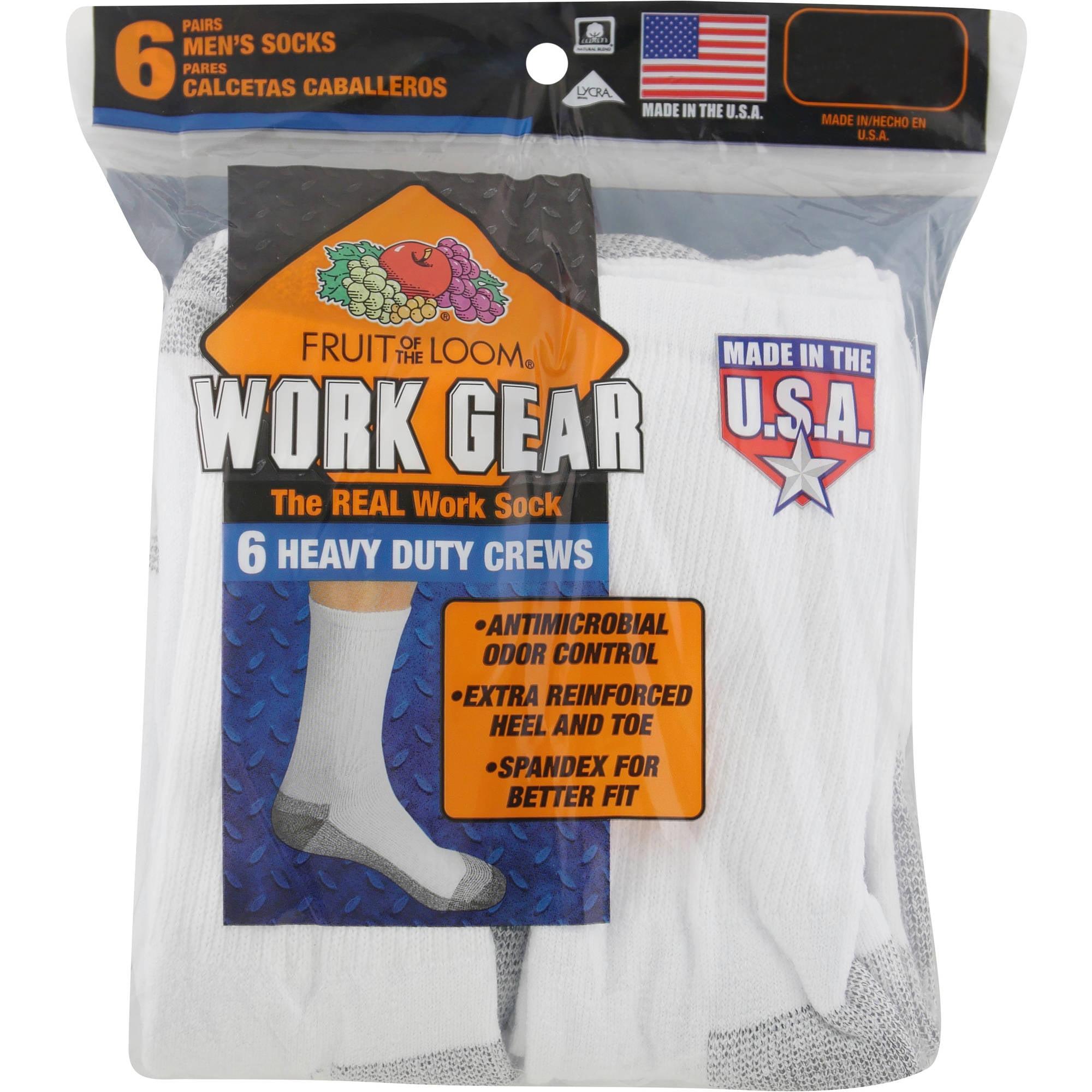 Fruit of the Loom Mens 6 Pack Heavy Duty Cushioned Crew Socks