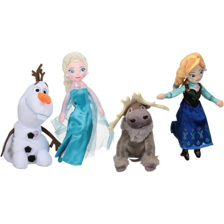 Disney Frozen Talking Plush Bean Elsa Anna Olaf Sven Dolls 4 Ct Box