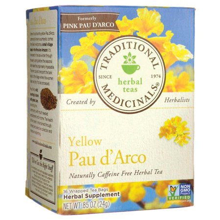 Teas Pau d'Arco Herbal Tea, 16 Wrapped Tea Bags, Woody, tannic and slightly bitter. By Traditional Medicinals (Herbal Wrap)